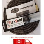 Free Delivery, Stove Rope Seal, Fire Spares, Black rope kit with flex seal adhesive, Free Shipping
